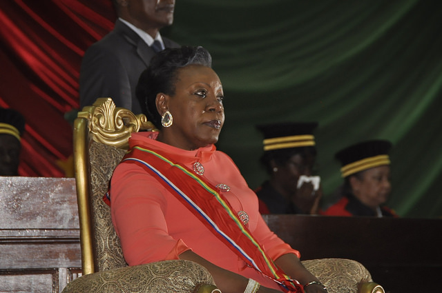 Catherine Samba-Panza sits prior to her swearing-in ceremony at the National Assembly in the capital Bangui, January 23, 2014. (MINUSCA/Flickr)
