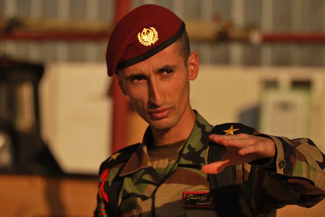 A member of the Kurdish Peshmerga near the Iraq-Syria border, June 22, 2014. (Enno Lenze/Flickr)