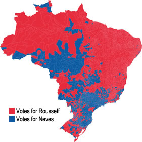 Results map of the second round of Brazil's 2014 presidential election, by municipality. (Wikipedia)