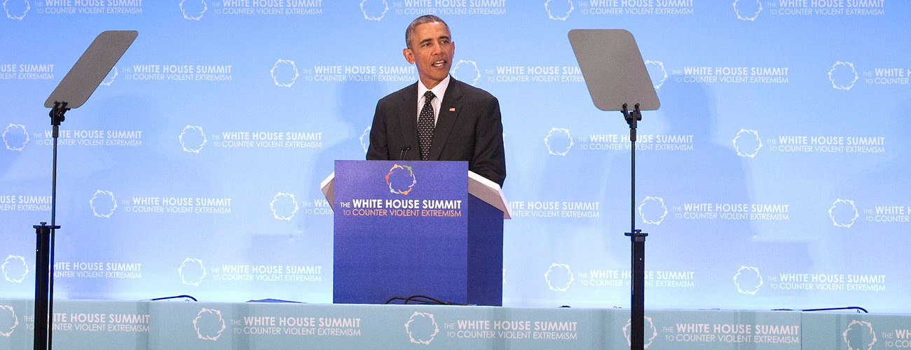 US President Barack Obama addresses the opening of the Ministerial Meeting of the Summit on Countering Violent Extremism in Washington, DC, February 19, 2015. (UN Photo/Eskinder Debebe)