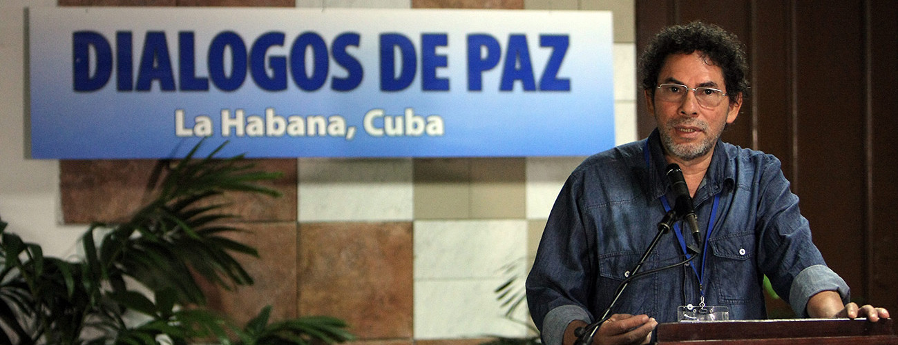 FARC commander Pastor Alape addresses  journalists at the 36th round of peace talks with the Colombian government. Havana, Cuba, April 15, 2015. (Ernesto Mastrascusa/EPA/Corbis)