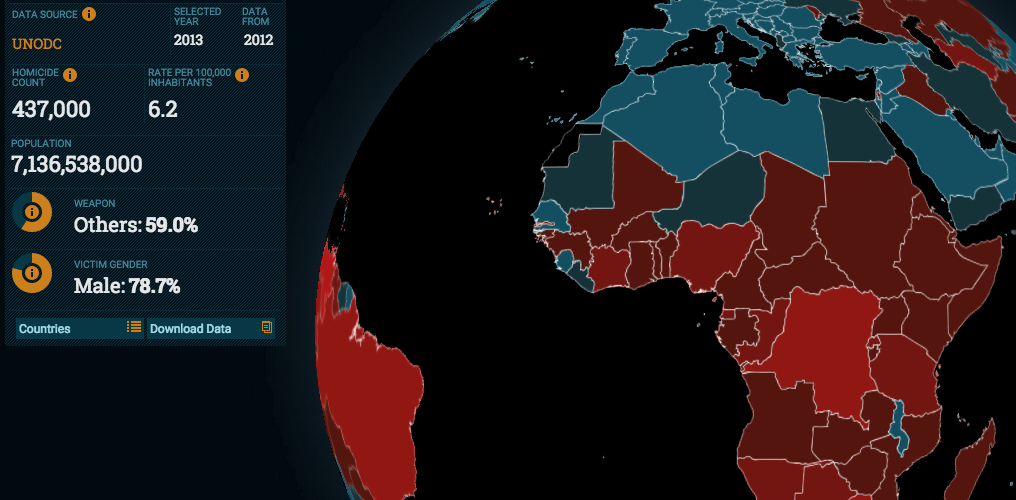 Interactive Map Tracks Murder Rate Worldwide IPI Global Observatory - Crime map vs 2016 us election