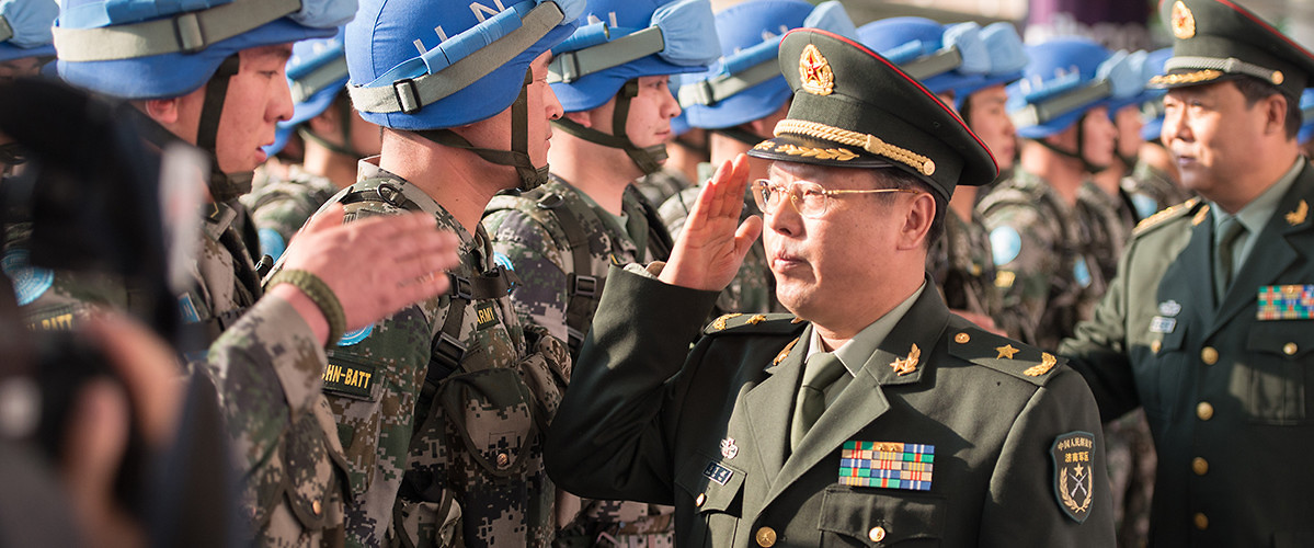 Chinese peacekeepers prepare to depart for South Sudan, marking the 25th anniversary of the country's contributions to UN peacekeeping operations. Jinan, China, April 7, 2015. (ChinaFotoPress/Getty Images)