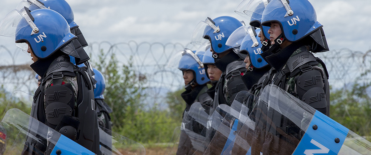 UN peacekeepers in South Sudan conduct a riot control training exercise. Juba, South Sudan, May 7, 2015. (JC McIlwaine/UN Photo)