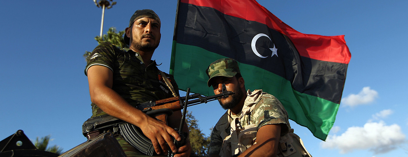 Libyan troops demonstrate in favor of foreign support for the army of the internationally recognized government in Tobruk. Benghazi, Libya, August 14, 2015. (Abdullah Doma/Doma/AFP/Getty Images)