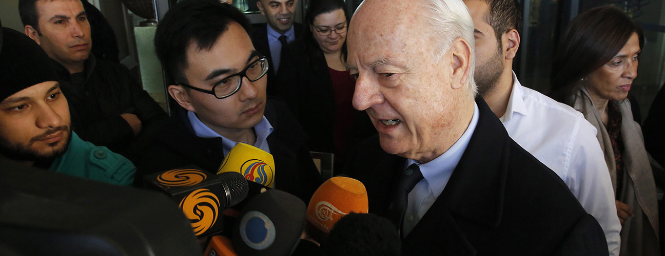 UN Envoy on Syria Staffan de Mistura speaks with journalists after meeting with officials to discuss talks between the Syrian government and opposition. Damascus, Syria, January 9, 2016. (Youssef Badawi/EPA/Corbis)