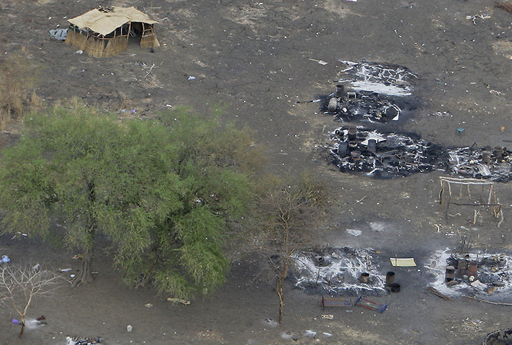 A aerial view of burnt out and destroyed villages on the outskirts of Abyei town, central Sudan,in this photo released by UNMIS