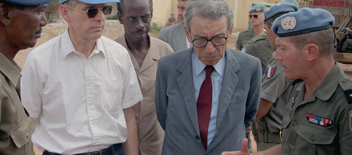 Former UN Secretary-General Boutros Boutros-Ghali meets with French peacekeeping command in Somalia. Baidoa, Somalia, October 22, 1993. (F. Ribere/UN Photo)
