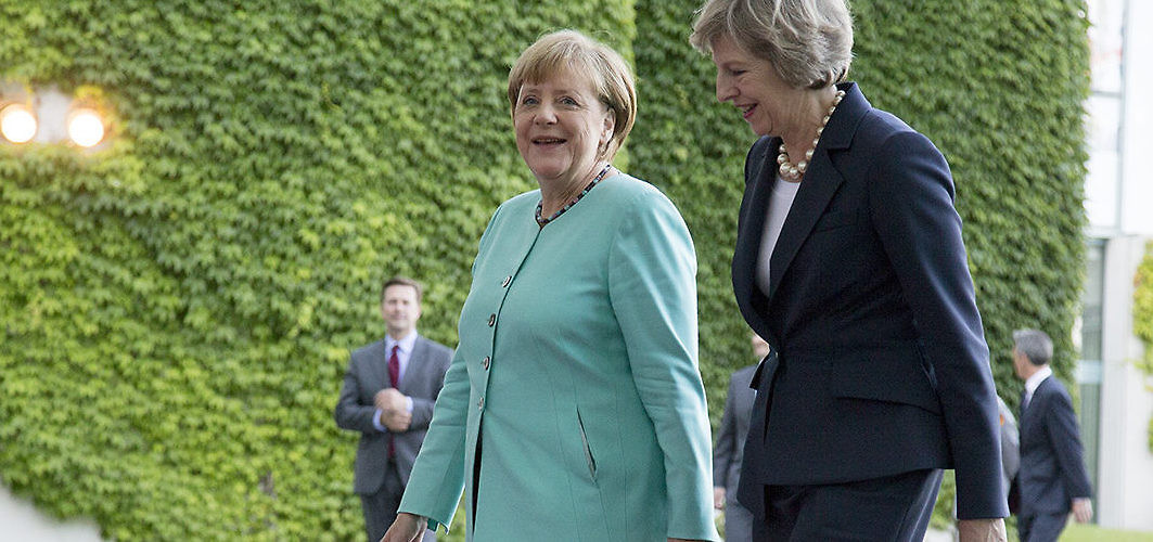 German Chancellor Angela Merkel and British Prime Minister Theresa May meet after the latter replaced David Cameron as leader. Berlin, Germany, July 20, 2016. (Emmanuele Contini/NurPhoto/Associated Press)