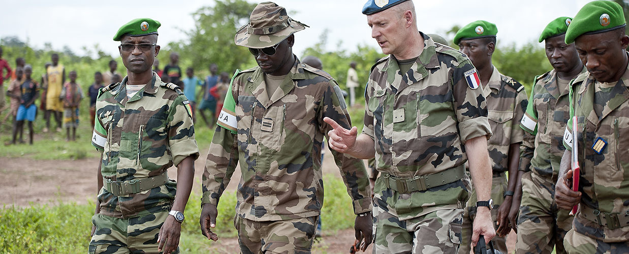 UN peacekeeping officials meet with the African-led International Support Mission to the Central African Republic. Kaga Bandoro, Central African Republic, July 6, 2014. (UN Photo/Catianne Tijerina)