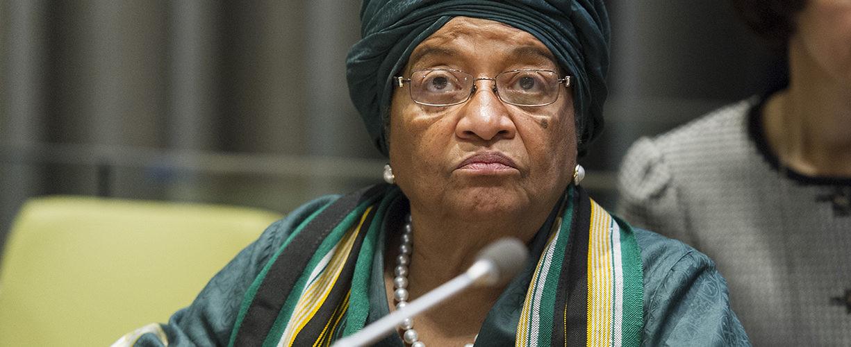 Ellen Johnson Sirleaf addresses the UN General Assembly. New York, March 2014. (Mark Garten/UN Photo)