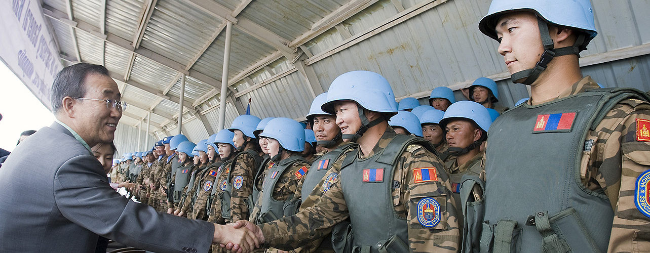 UN Secretary-General Ban Ki-moon visits the Peace Operations Support Training Center in Tavan Tolgoi, Mongolia. July 26, 2009. (Eskinder Debebe/UN Photo)