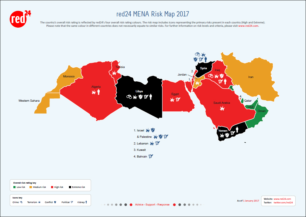 Red24's risk ratings for the MENA region, available here. Click image to enlarge.